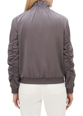 Lafayette 148 Kiki Zip-Front Long-Sleeve Urbane Satin Jacket w/ Ribbed Cuffs & Hem