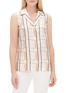 Lafayette 148 Kit Sleeveless Savvy Plaid Blouse