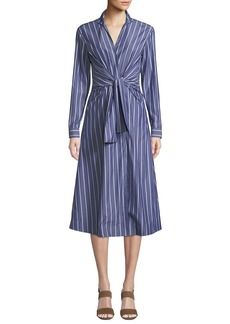 Lafayette 148 Kylo Concord Stripe Long-Sleeve Wrap Dress