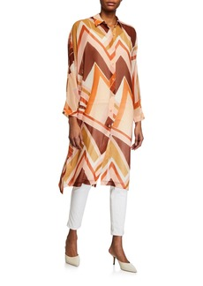 Lafayette 148 Kyrie Geometric-Print Button-Down Duster