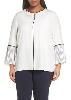 Lafayette 148 Nemy Pleated Bell Sleeve Silk Blouse (Plus Size)