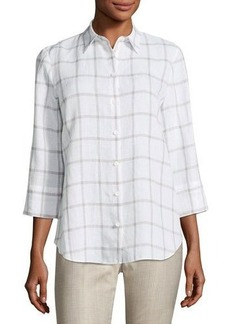 Lafayette 148 New York 3/4-Sleeve Grid-Striped Shirt