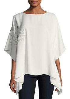 Lafayette 148 New York Abbot Silk Kimono Blouse w/ Chain-Trim Floral Appliqué