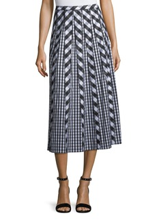 Lafayette 148 Adalia Belmont Check Shirting Midi Skirt