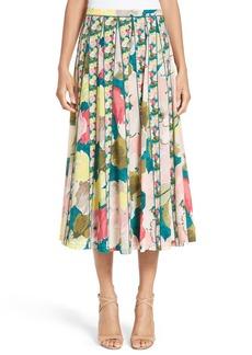 Lafayette 148 New York Adalia Pleated Floral Silk Skirt