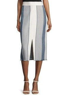 Lafayette 148 New York Adelina Striped Pencil Skirt W/ Fringe Hem
