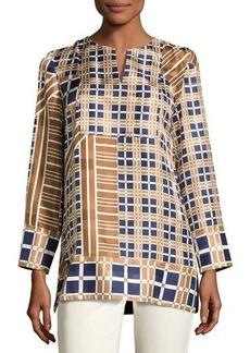 Lafayette 148 New York Adeline Bracelet-Sleeve Plaid Silk Blouse