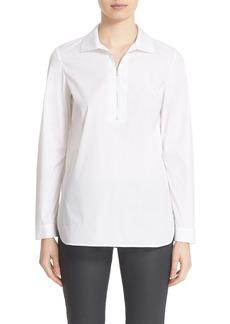 Lafayette 148 New York 'Adelynn' Half Zip Poplin Shirt