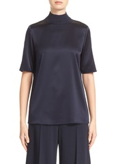 Lafayette 148 New York Aina Knit Collar Charmeuse Blouse