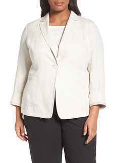 Lafayette 148 New York Alba Herringbone Linen Jacket (Plus Size)