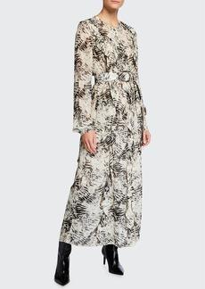 Lafayette 148 New York Alexandra Graphite Print Belted Long Dress