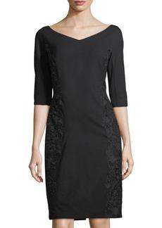 Lafayette 148 New York Alexia Lace-Panel Half-Sleeve Dress
