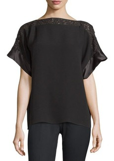 Lafayette 148 New York Alonza Lace-Trim Short-Sleeve Blouse