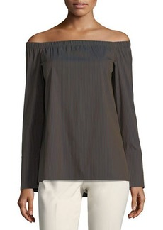 Lafayette 148 New York Amy Off-the-Shoulder Stretch-Cotton Blouse