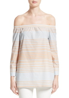 Lafayette 148 New York Amy Stripe Cotton Off the Shoulder Blouse