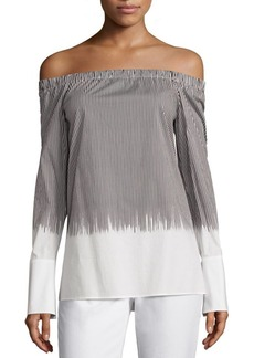 Lafayette 148 New York Amy Striped Off-The-Shoulder Blouse