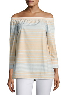 Lafayette 148 New York Amy Striped Off-the-Shoulder Cotton Blouse