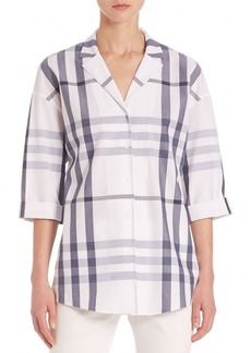 Lafayette 148 New York Anale Plaid Button-Front Blouse
