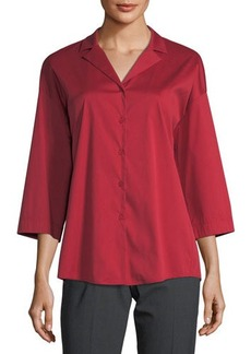 Lafayette 148 New York Analeigh Button-Front Collared Poplin Blouse