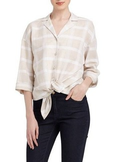 Lafayette 148 New York Analeigh Grid-Print Linen-Blend Blouse