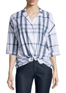 Lafayette 148 New York Analeigh Plaid Bracelet-Sleeve Blouse