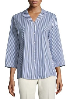 Lafayette 148 New York Analeigh Striped Poplin Blouse