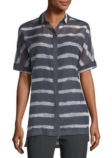 Lafayette 148 New York Andra Button-Front Short-Sleeve Printed Sheer Blouse