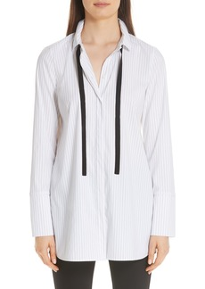 Lafayette 148 New York Annaleise Contrast Tie Stanford Stripe Blouse