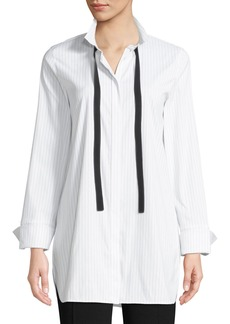 Lafayette 148 New York Annaliese Stanford Striped Blouse w/ Contrast Trim