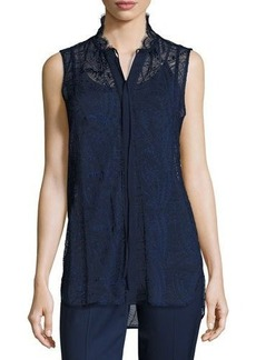 Lafayette 148 New York Annetta Sleeveless Tie-Neck Lace Blouse