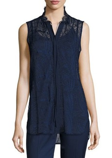 Lafayette 148 New York Annetta Sleeveless Tie-Neck Lace Blouse