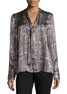 Lafayette 148 New York Ardelle Chevron-Print Silk Top