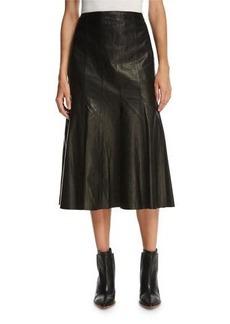 Lafayette 148 New York Aria Lamb Leather Godet Midi Skirt