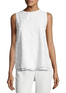 Lafayette 148 New York Arla Sleeveless Heirloom-Stitch Layered Blouse