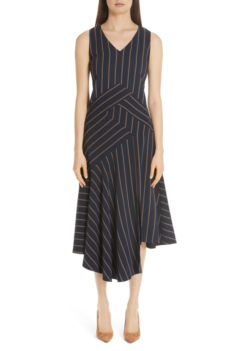 Lafayette 148 New York Ashlena Asymmetrical Stripe Dress