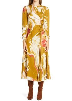 Lafayette 148 New York Astrid Ruched Long Sleeve Midi Dress