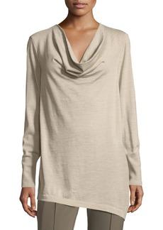 Lafayette 148 New York Asymmetric Cowl-Neck Merino Wool Sweater