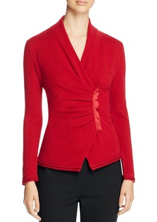 Lafayette 148 New York Asymmetric Pleat Cashmere Sweater