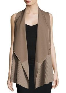 Lafayette 148 New York Asymmetric Ribbed Cardigan Vest