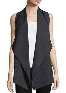 Lafayette 148 New York Asymmetric Ribbed Cardigan Vest