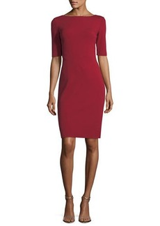 Lafayette 148 Asymmetric-Seamed Punto Milano Sheath Dress