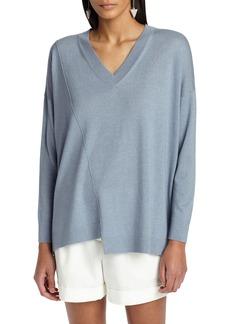 Lafayette 148 New York Asymmetrical Cashmere & Silk Blend Sweater