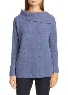 Lafayette 148 New York Asymmetrical Neck Metallic Cashmere Blend Sweater