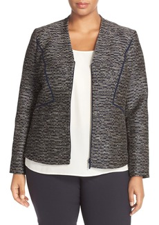 Lafayette 148 New York 'Aubrey' Metallic Jacquard V-Neck Jacket (Plus Size)