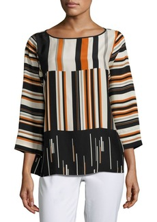 Lafayette 148 New York Aubrianna Striped Silk Blouse
