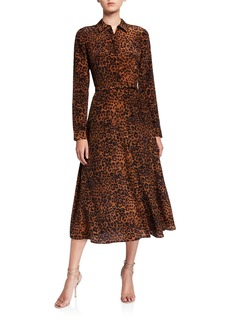 Lafayette 148 New York Augustina Leopard Printed Long-Sleeve Silk Midi Dress
