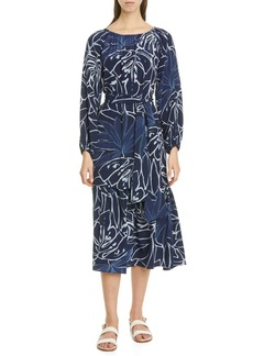 Lafayette 148 New York Aurora Long Sleeve Silk Midi Dress