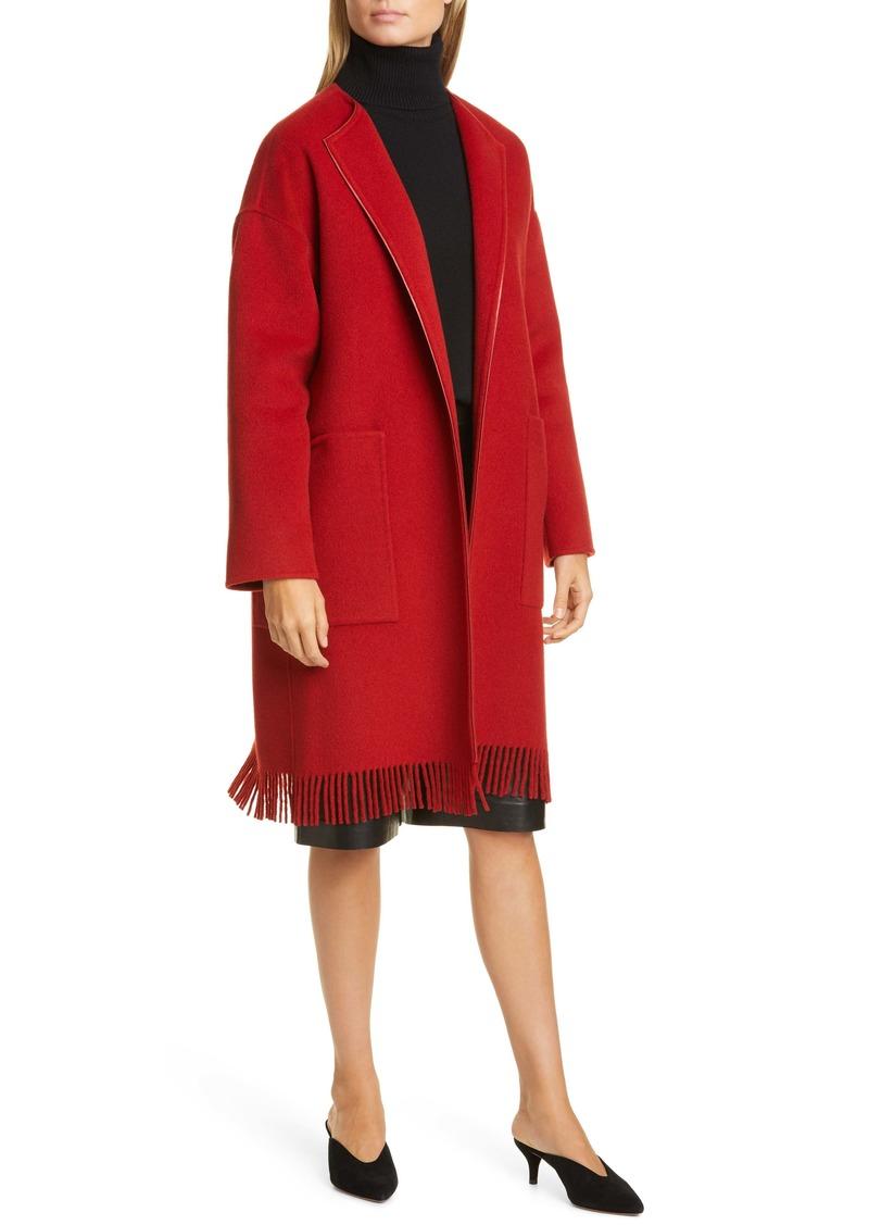 Lafayette 148 New York Barnett Fringe Trim Cashmere Coat
