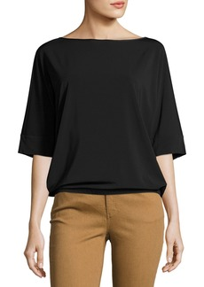Lafayette 148 Bateau-Neck Relaxed Crepe Jersey Top