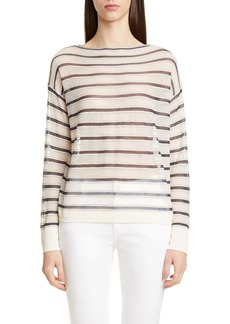 Lafayette 148 New York Bateau Neck Sheer Voile Sweater
